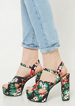 Black Floral Print Strappy Peep Toe Heels