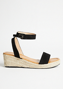 Black Buckled Ankle Espadrille Wedges