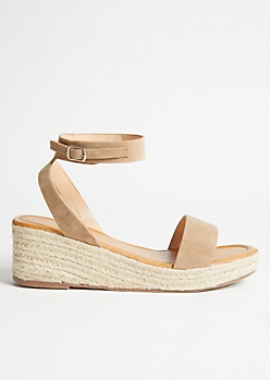 Taupe Buckled Ankle Espadrille Wedges
