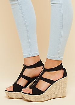 Black Zipper Peep Toe Espadrille Wedges
