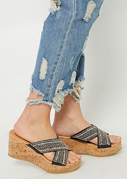 Black Beaded Cross Strap Cork Wedges