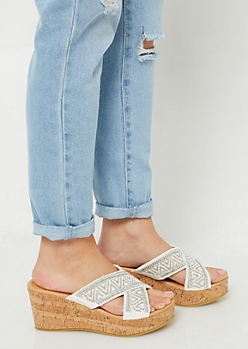 White Beaded Cross Strap Cork Wedges