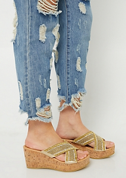 Gold Beaded Cross Strap Cork Wedges