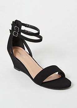 Black Strappy Wedge Sandals