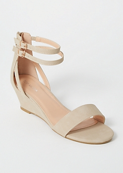 Taupe Strappy Wedge Sandals
