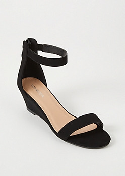 Black Ankle Strap Low Wedge Heels