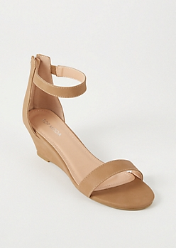 Tan Ankle Strap Low Wedge Heels