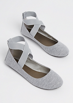 Gray Jersey Cross Strap Flats