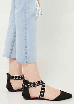Black Grommet Crossing Strap Flats