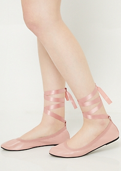 c04089775b4d Light Pink Ribbon Tie Ballet Flats