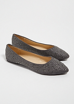 Gray Studded Faux Suede Pointed Toe Flats
