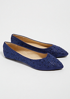 Navy Studded Faux Suede Pointed Toe Flats