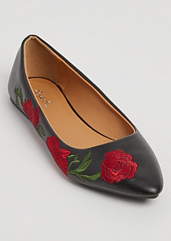 Black Floral Embroidered Faux Leather Flats