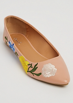 Pink Floral Embroidered Faux Leather Flats