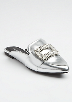 Silver Metallic Embellished Buckled Mules