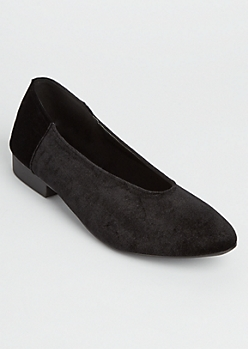 Black V Cut Faux Suede Flats
