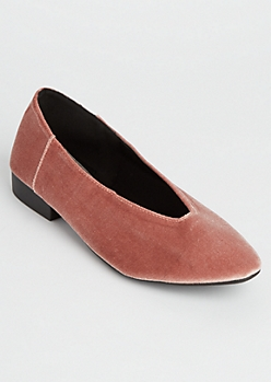 Light Pink V Cut Faux Suede Flats