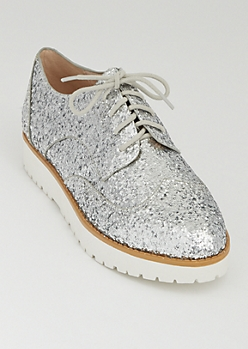 Silver Glitter Platform Oxford Shoes