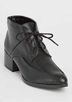 Black Faux Leather Ankle Oxford Shoes