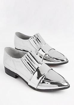 Silver Metallic Tuxedo Flats