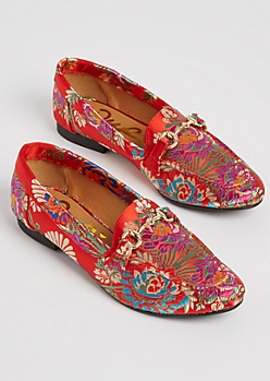 Red Floral Embroidered Loafers