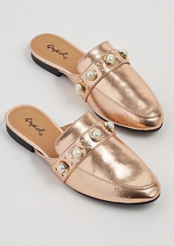 Rose Gold Dotted Pearl Mules