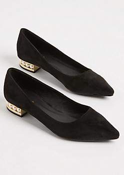 Black Faux Suede Pearl Heel Flats