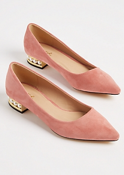 Pink Faux Suede Pearl Heel Flats