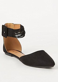Black Faux Suede Strappy Ankle Flats