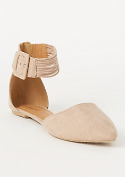 Tan Faux Suede Strappy Ankle Flats
