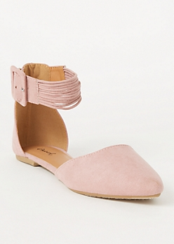 Pink Faux Suede Strappy Ankle Flats