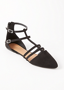 Black Caged Pointy Toe Flats