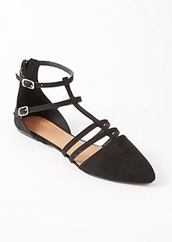 Black Caged Pointy Toe Flats