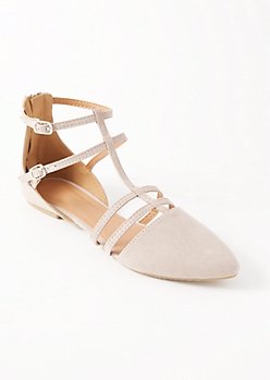 Taupe Caged Pointy Toe Flats
