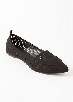Black Perforated Pointy Toe Flats