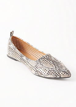Snakeskin Print Perforated Pointy Toe Flats