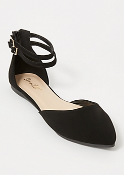 Black Pointed Ankle Buckle Flats