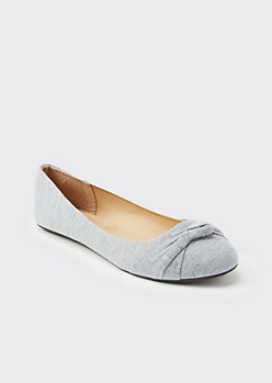 Gray Knotted Round Toe Flats