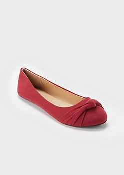 Burgundy Knotted Round Toe Flats