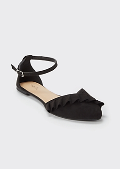 Black Ruffled Ankle Strap Flats