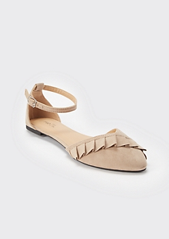 Taupe Ruffled Ankle Strap Flats