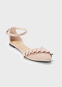 Pink Ruffled Ankle Strap Flats