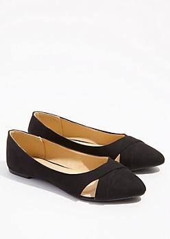 Black Cutout Pointed Toe Flats