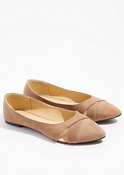Taupe Cutout Pointed Toe Flats