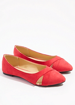 Red Cutout Pointed Toe Flats