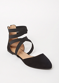 Black Crisscross Pointed Toe Flats
