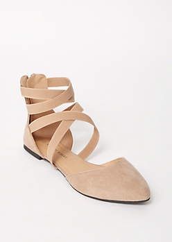 Beige Crisscross Pointed Toe Flats