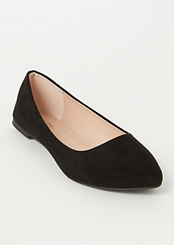 Black Faux Suede Basic Flats