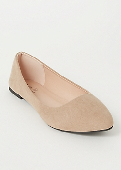 Taupe Faux Suede Basic Flats