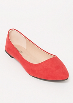 Red Faux Suede Basic Flats